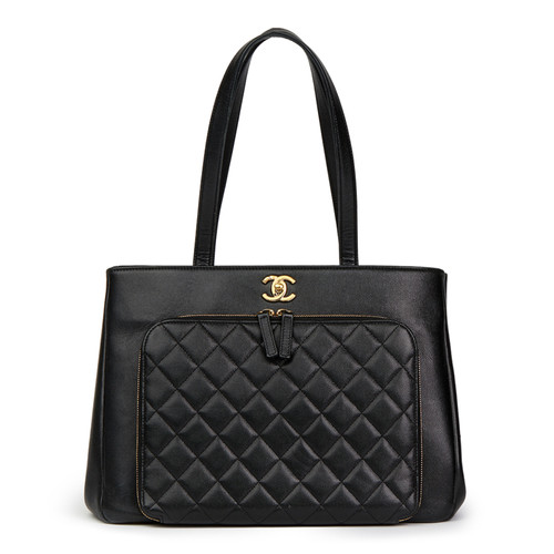 eb57535118b93 Chanel Shopper aus Leder in Schwarz - Second Hand Chanel Shopper aus ...