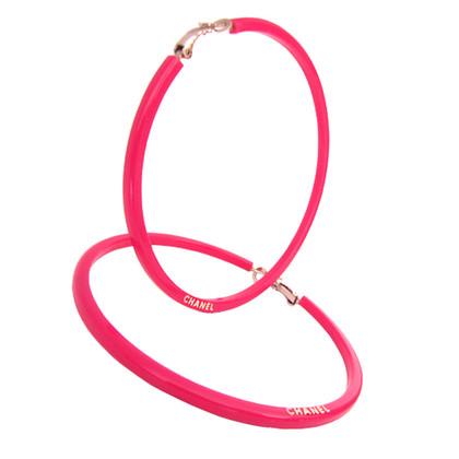 Chanel Grote hoop Earrings hoop earrings - sterke roze
