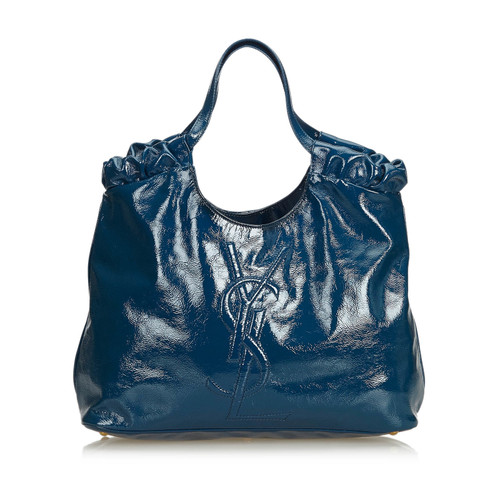 b07f1483a6b Yves Saint Laurent Tote bag Leather in Blue - Second Hand Yves Saint ...