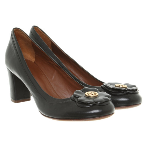 b1fe2802c979 Tory Burch Pumps Peeptoes Leather in Black - Second Hand Tory Burch ...