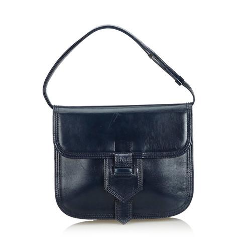 52db744eb65 Yves Saint Laurent Handbag Leather in Blue - Second Hand Yves Saint ...
