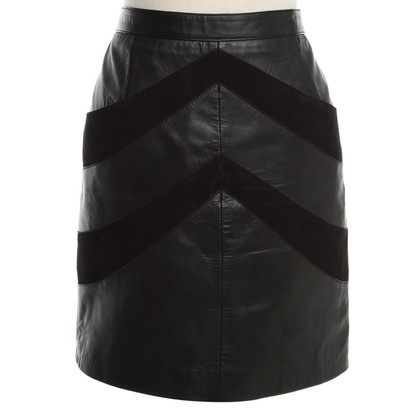 Maje Leather Skirt in Black