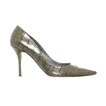 Dolce & Gabbana Lace Pumps with crocodile embossing