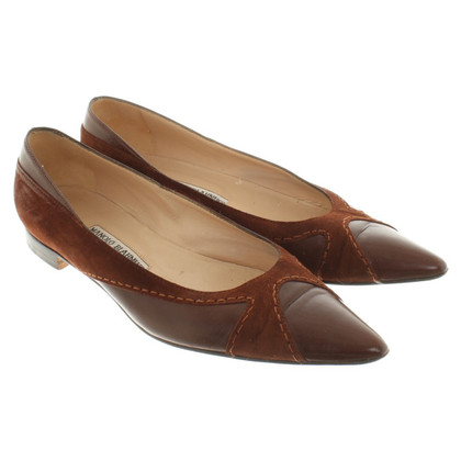 Manolo Blahnik Ballerine à Brown