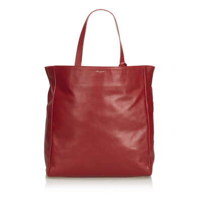 3d1ca1272a0e9 Saint Laurent North South Reversible Tote Bag aus Leder in Rot