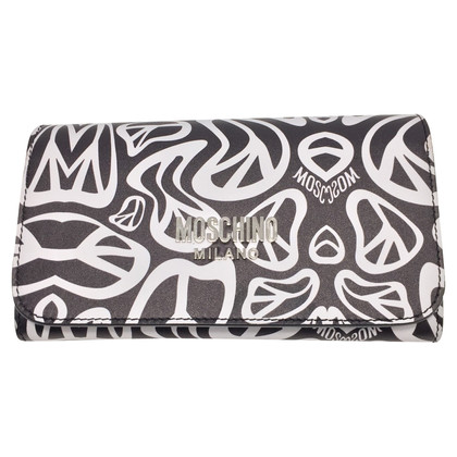 Moschino Printed leather wallet clutch