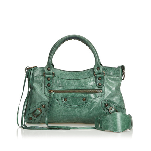 website for discount classic fit amazing price Balenciaga City Bag Leather in Green - Second Hand ...