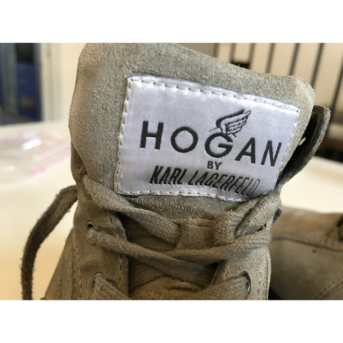 Hogan Lace up shoes Suede in Grey Second Hand Hogan Lace