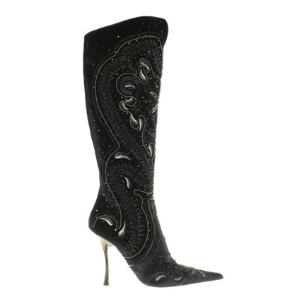 Gianmarco Lorenzi Velvet boots with applications