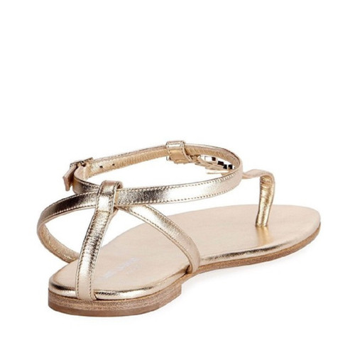 579f9d13601 Yves Saint Laurent Sandals Leather in Gold - Second Hand Yves Saint ...