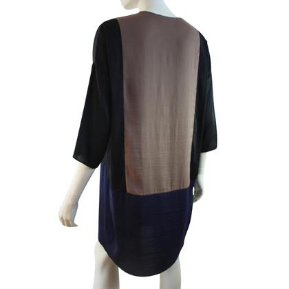 Hoss Intropia Silk dress in blue / taupe / black