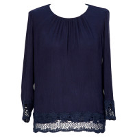 French Connection Blaue Bluse mit Spitze