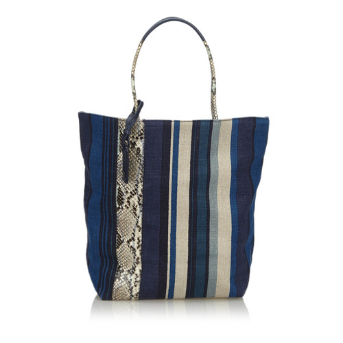 a0fa556395d Yves Saint Laurent Tote bag Canvas in Blue - Second Hand Yves Saint ...