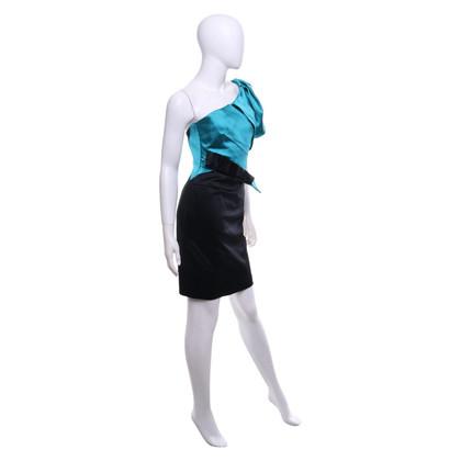 Karen Millen Satin dress in black / teal