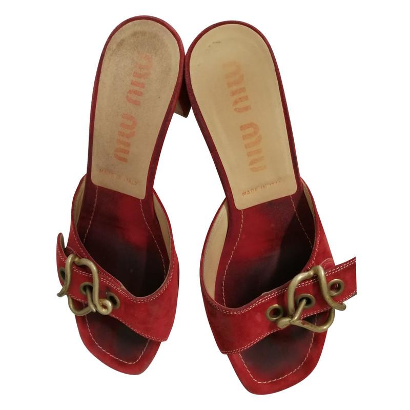 Acheter Daim Miu En Sandales Rouge IW9EH2YD