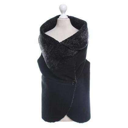 Anne Valerie Hash Fur Vest in Black / grey