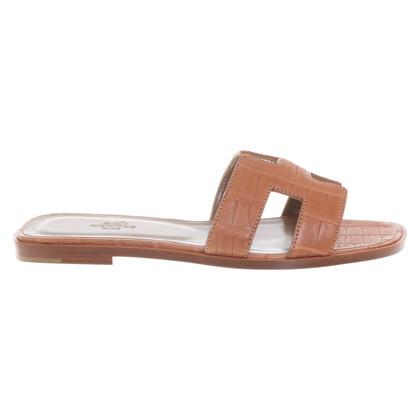 """Hermès Sandalo """"Oran"""" dalla pelle di coccodrillo"""