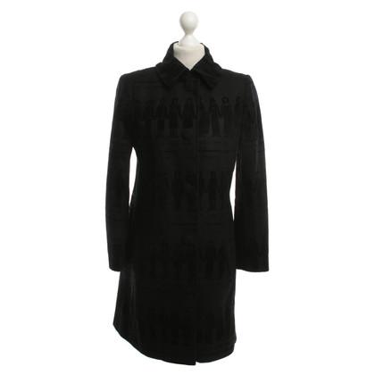 Moschino Schwarzer Mantel mit Muster