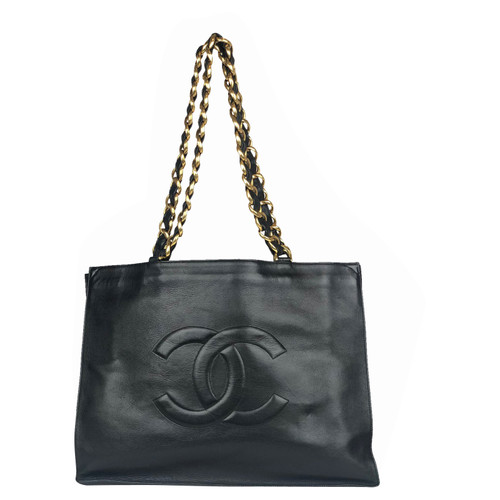 5c7a452ee908d6 Chanel Tote bag Leather in Black - Second Hand Chanel Tote bag ...