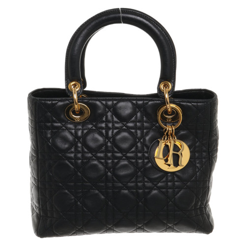 Christian Dior Lady Dior Medium Leather in Black - Second Hand ... 0b6646f4be25e