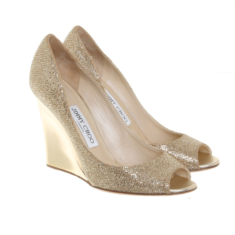 Jimmy Choo Wedges in Gold - Second Hand