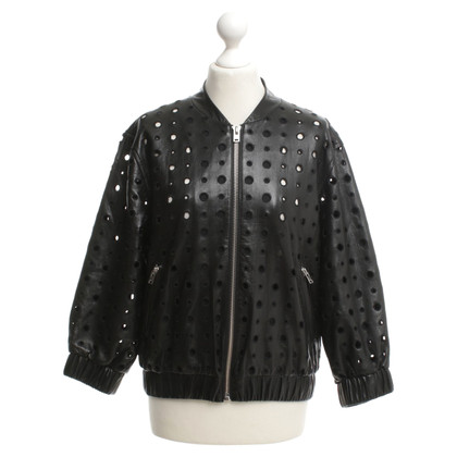 Iro Leather jacket with hole pattern
