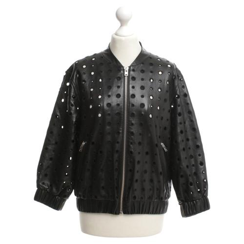 6e8fa30070c Iro Leather jacket with hole pattern - Second Hand Iro Leather ...