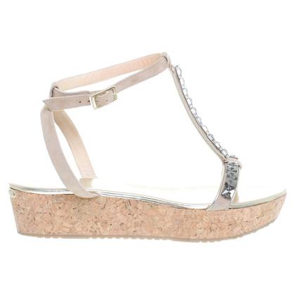 Jimmy Choo Platform sandalen met halfedelstenen