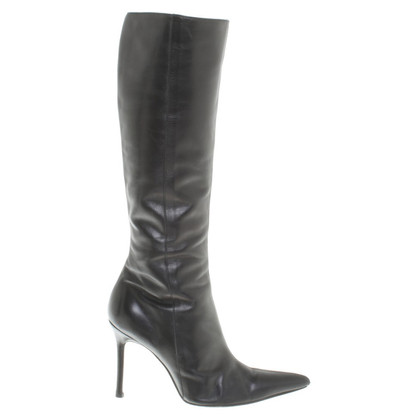 Gianni Versace Leather boots in black