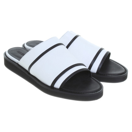 Helmut Lang Leather sandals in black and white