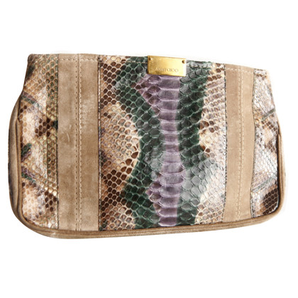 Jimmy Choo Suede/pythonleather clutch