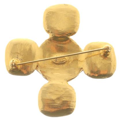 Chanel Goldfarbene Logo-Brosche