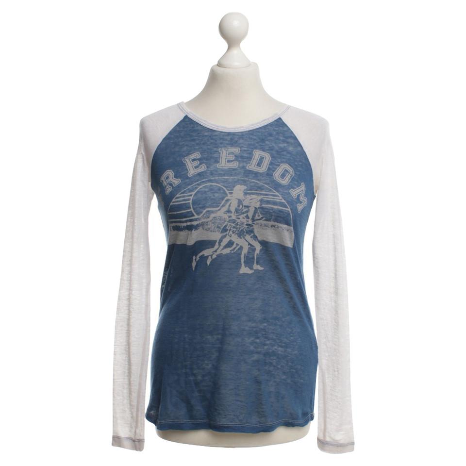 isabel marant etoile chemise manches longues avec logo imprim bleu blanc acheter isabel. Black Bedroom Furniture Sets. Home Design Ideas