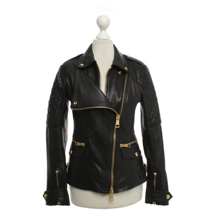 Burberry Giacca in pelle motociclista in Black