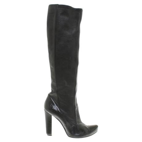 Pollini Stiefel aus Leder Schwarz