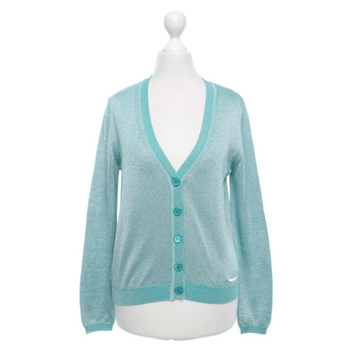 Outlet-Boutique attraktive Mode sehr bequem Moschino Love Strickjacke in Türkis/Silber - Second Hand ...