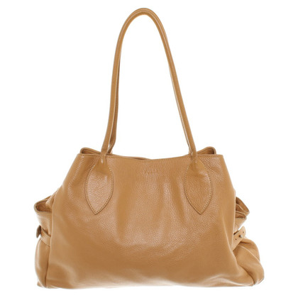 Furla Mustard-colored leather shopper
