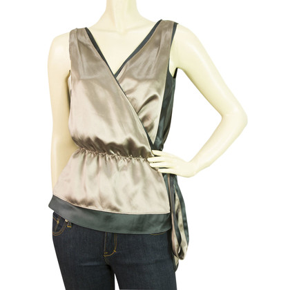 Diane von Furstenberg Wrap Metallic en Gunmetal Grey Silk Top