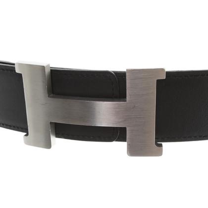 Hermès Wendegürtel in Schwarz/Grau