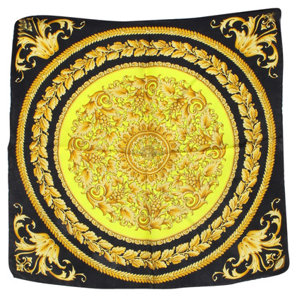 Versace Silk scarf in black / yellow