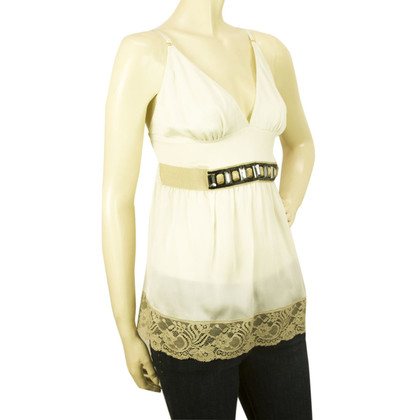 Dolce & Gabbana D & G Off White Kralen Silk Top - Sz L