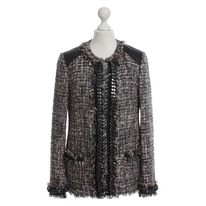 MSGM Bouclé jacket with leather details