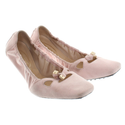 Tod's Wildleder-Ballerinas in Rosa