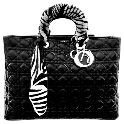 Christian Dior XL Lady Dior Bag.  Black Patent Leather