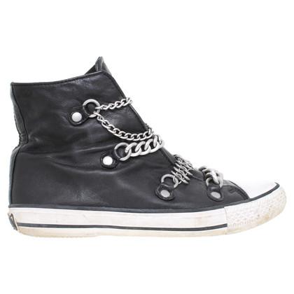 Ash Lederen sneaker in zwart