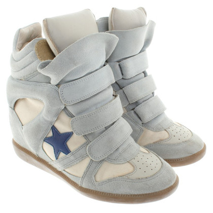 Isabel Marant Sneaker wedges with suede in light blue / beige