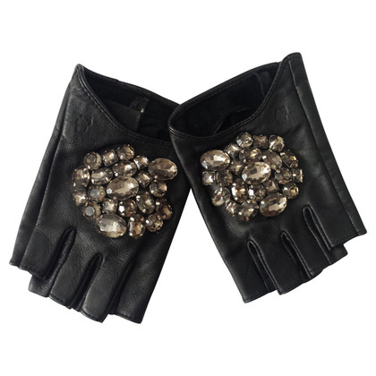 Karl Lagerfeld Leather gloves with semi-precious stones