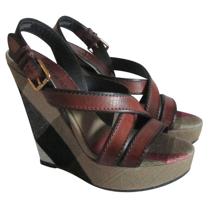 Burberry Nova check wedge sandals.