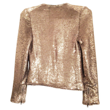 Iro IRO Light Gold Sequin Zip Blazer