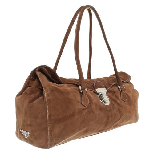 ed333b0d9c48 Prada Handbag Suede in Brown - Second Hand Prada Handbag Suede in ...